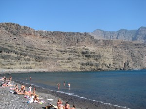Sun-bathers on a beach on the northern coast of Gran Canaria
