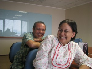 Ms. Renie, office manager OFI Jakarta, and Mr. Martin from OCSP, after a meeting in Jakarta